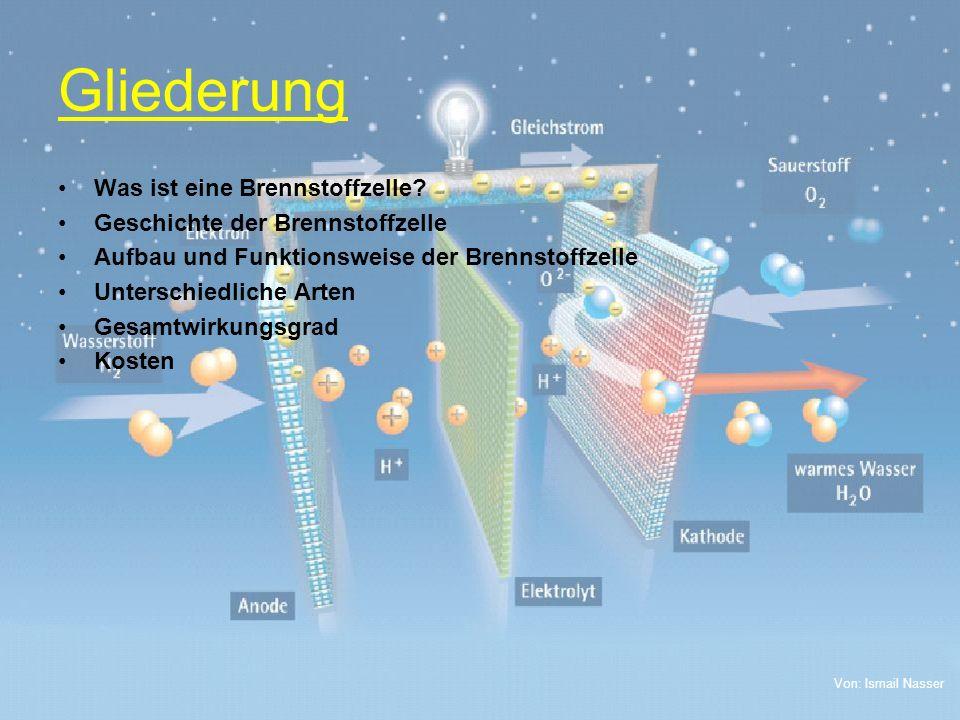 Von: Ismail Nasser Gliederung Was ist eine Brennstoffzelle? Geschichte der Brennstoffzelle Aufbau und Funktionsweise der Brennstoffzelle Unterschiedli