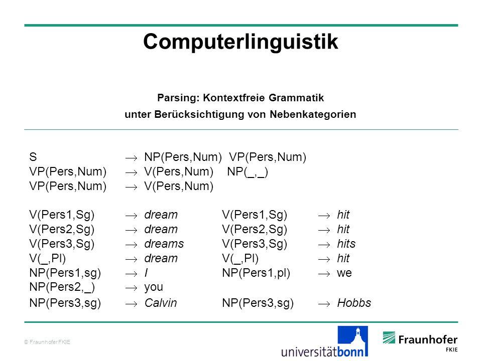 © Fraunhofer FKIE Computerlinguistik Parsing: Kontextfreie Grammatik unter Berücksichtigung von Nebenkategorien S NP(Pers,Num) VP(Pers,Num) VP(Pers,Nu