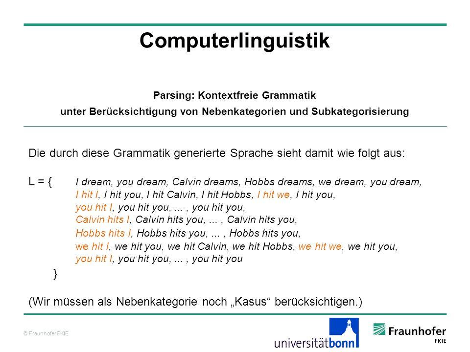 © Fraunhofer FKIE Computerlinguistik Parsing: Kontextfreie Grammatik unter Berücksichtigung von Nebenkategorien und Subkategorisierung Die durch diese