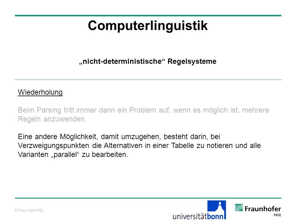 © Fraunhofer FKIE Computerlinguistik Wiederholung Beim Parsing tritt immer dann ein Problem auf, wenn es möglich ist, mehrere Regeln anzuwenden. Eine