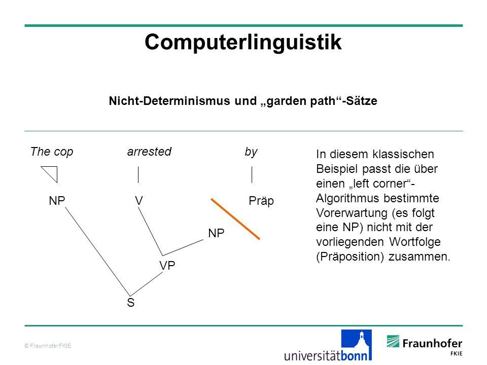 © Fraunhofer FKIE Computerlinguistik The cop arrested by NPVPräp VP NP S In diesem klassischen Beispiel passt die über einen left corner- Algorithmus