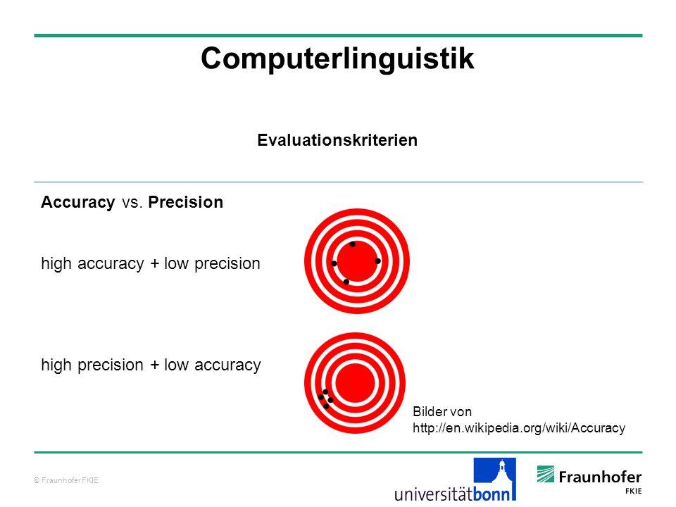 © Fraunhofer FKIE Computerlinguistik Accuracy vs. Precision high accuracy + low precision high precision + low accuracy Evaluationskriterien Bilder vo