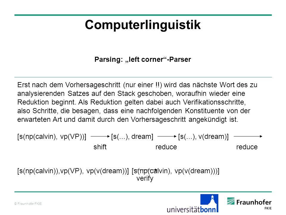 © Fraunhofer FKIE Computerlinguistik Erst nach dem Vorhersageschritt (nur einer !!) wird das nächste Wort des zu analysierenden Satzes auf den Stack g