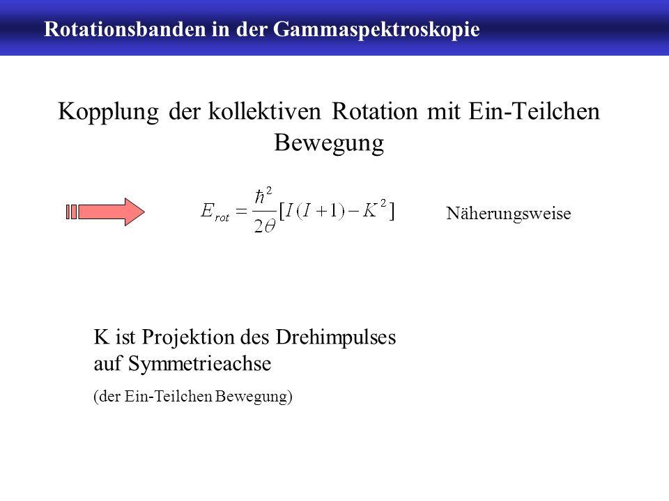 Rotationsbanden in der Gammaspektroskopie -6- Rotationsenergie im Spektrum rotierender Kern emittiert E2-Strahlung: II - 2 Energie der kollektiven Drehung: I = 0, 2, 3, 4, etc