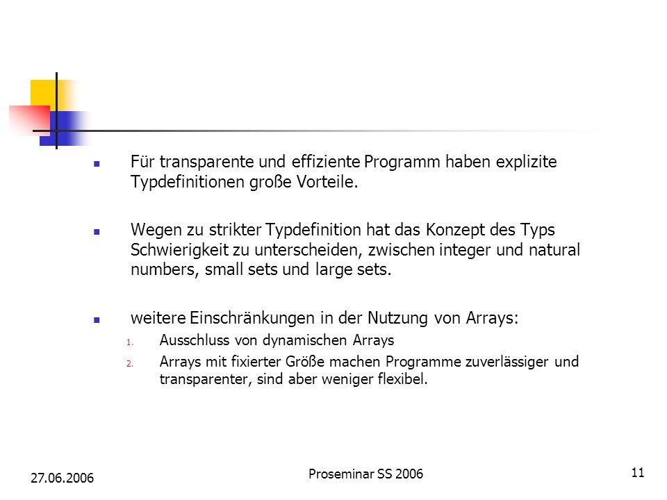 27.06.2006 Proseminar SS 2006 11 Für transparente und effiziente Programm haben explizite Typdefinitionen große Vorteile. Wegen zu strikter Typdefinit
