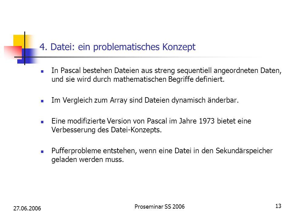 27.06.2006 Proseminar SS 2006 13 4. Datei: ein problematisches Konzept In Pascal bestehen Dateien aus streng sequentiell angeordneten Daten, und sie w