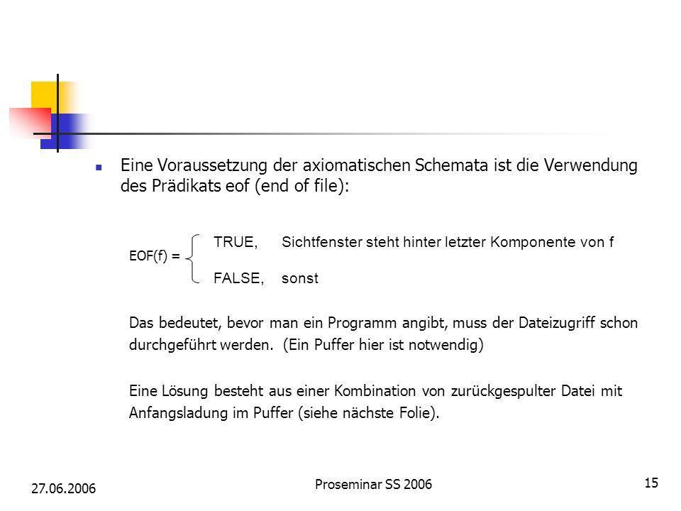 27.06.2006 Proseminar SS 2006 15 Eine Voraussetzung der axiomatischen Schemata ist die Verwendung des Prädikats eof (end of file): EOF(f) = Das bedeutet, bevor man ein Programm angibt, muss der Dateizugriff schon durchgeführt werden.