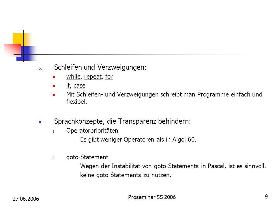 27.06.2006 Proseminar SS 2006 9 5. Schleifen und Verzweigungen: while, repeat, for if, case Mit Schleifen- und Verzweigungen schreibt man Programme ei