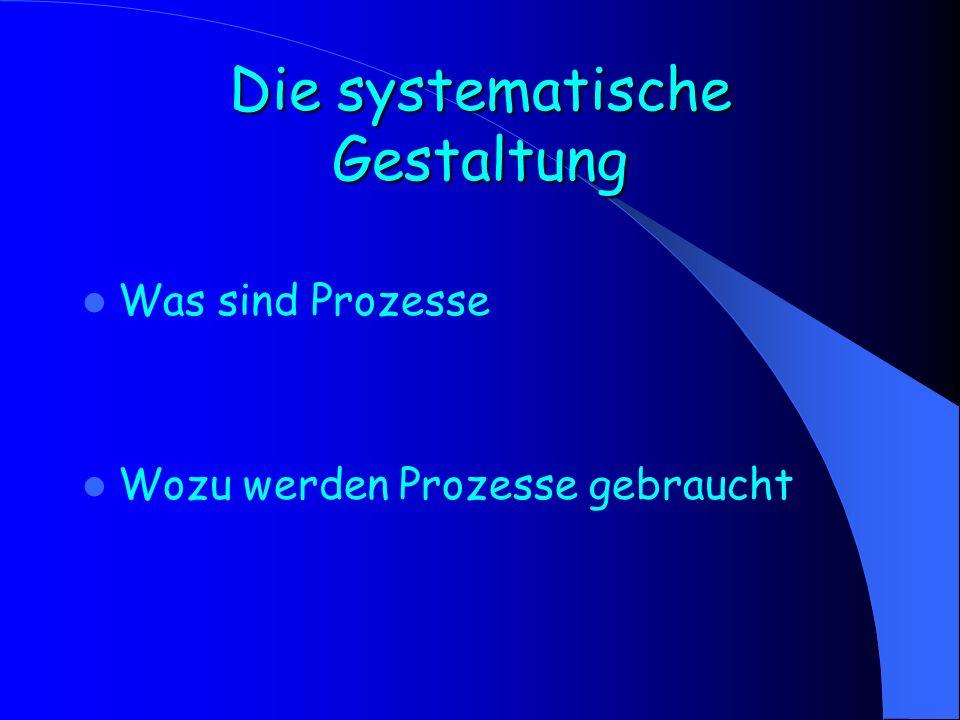 Die systematische Gestaltung Was sind Prozesse Wozu werden Prozesse gebraucht