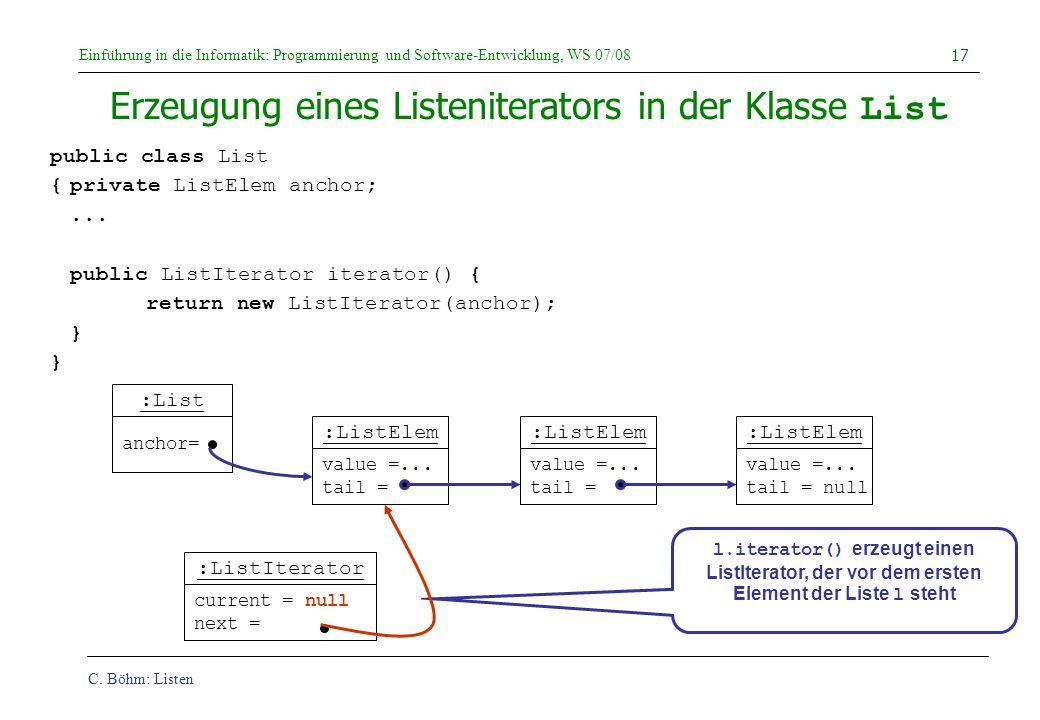 C. Böhm: Listen Einführung in die Informatik: Programmierung und Software-Entwicklung, WS 07/08 17 :ListIterator current = null next = Erzeugung eines