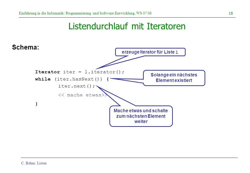 C. Böhm: Listen Einführung in die Informatik: Programmierung und Software-Entwicklung, WS 07/08 18 Listendurchlauf mit Iteratoren Schema: Iterator ite