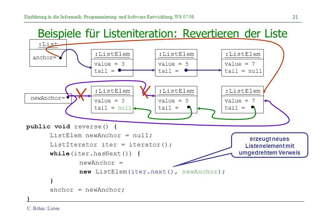 C. Böhm: Listen Einführung in die Informatik: Programmierung und Software-Entwicklung, WS 07/08 21 Beispiele für Listeniteration: Revertieren der List