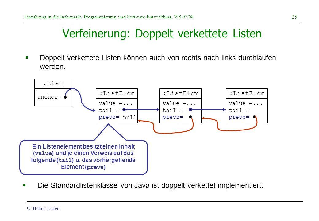 C. Böhm: Listen Einführung in die Informatik: Programmierung und Software-Entwicklung, WS 07/08 25 :ListElem value =... tail = prevs= Verfeinerung: Do
