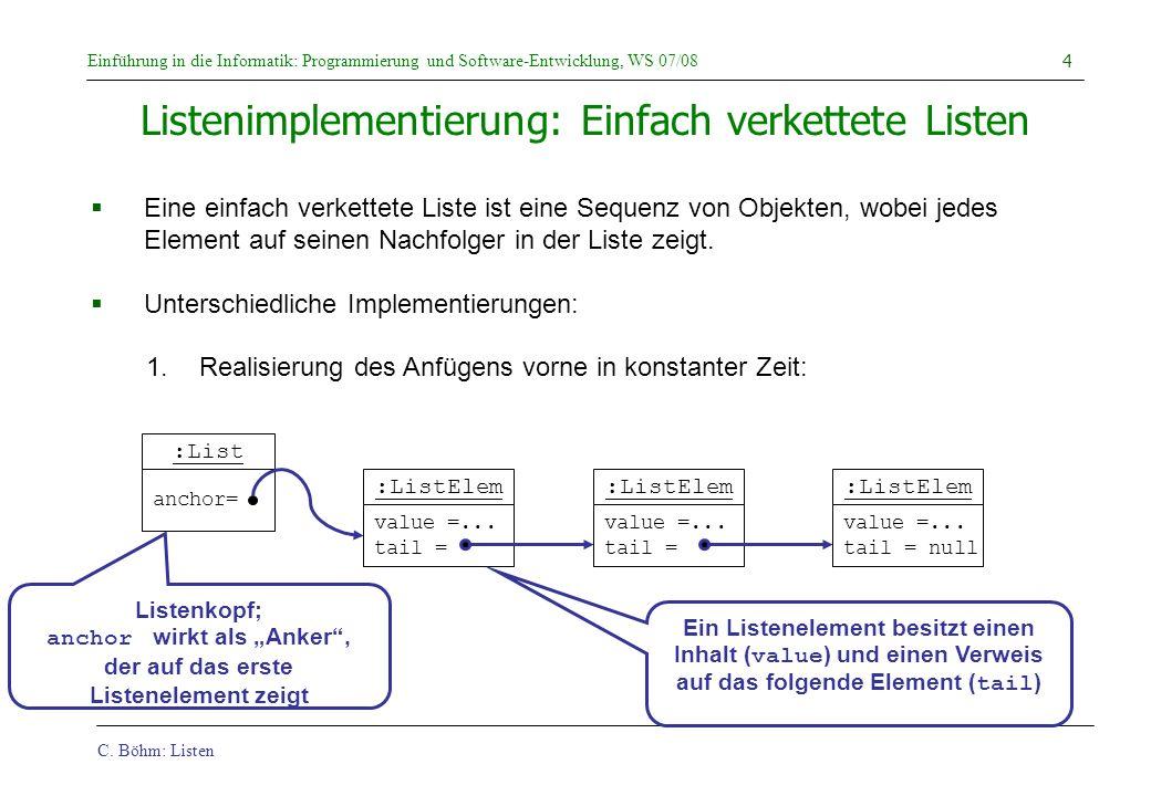 C. Böhm: Listen Einführung in die Informatik: Programmierung und Software-Entwicklung, WS 07/08 4 Listenimplementierung: Einfach verkettete Listen Ein