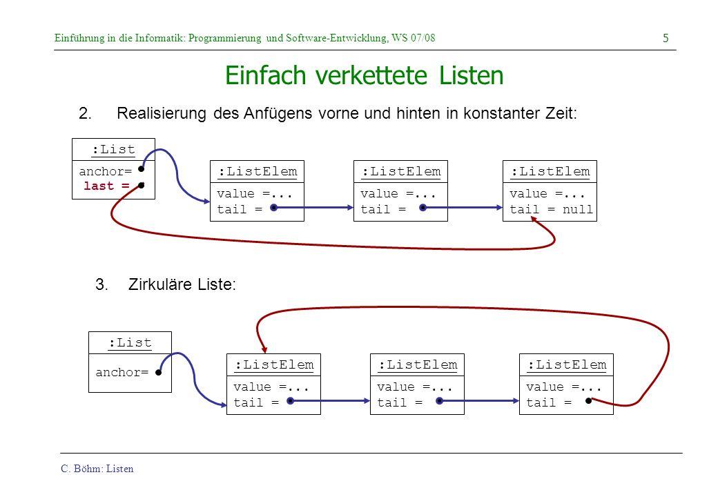 C. Böhm: Listen Einführung in die Informatik: Programmierung und Software-Entwicklung, WS 07/08 5 :List anchor= :ListElem value =... tail = :ListElem