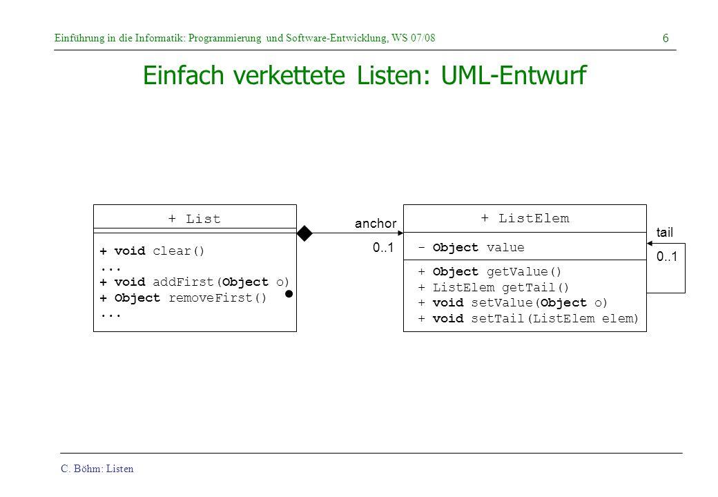 C. Böhm: Listen Einführung in die Informatik: Programmierung und Software-Entwicklung, WS 07/08 6 + void clear()... + void addFirst(Object o) + Object