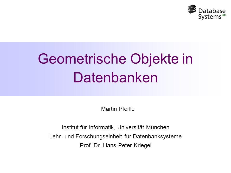 Geometrische Objekte in Datenbanken Martin Pfeifle Institut für Informatik, Universität München Lehr- und Forschungseinheit für Datenbanksysteme Prof.