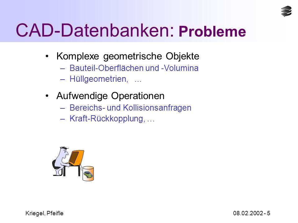 Kriegel, Pfeifle08.02.2002 - 5 CAD-Datenbanken: Probleme Komplexe geometrische Objekte –Bauteil-Oberflächen und -Volumina –Hüllgeometrien,...