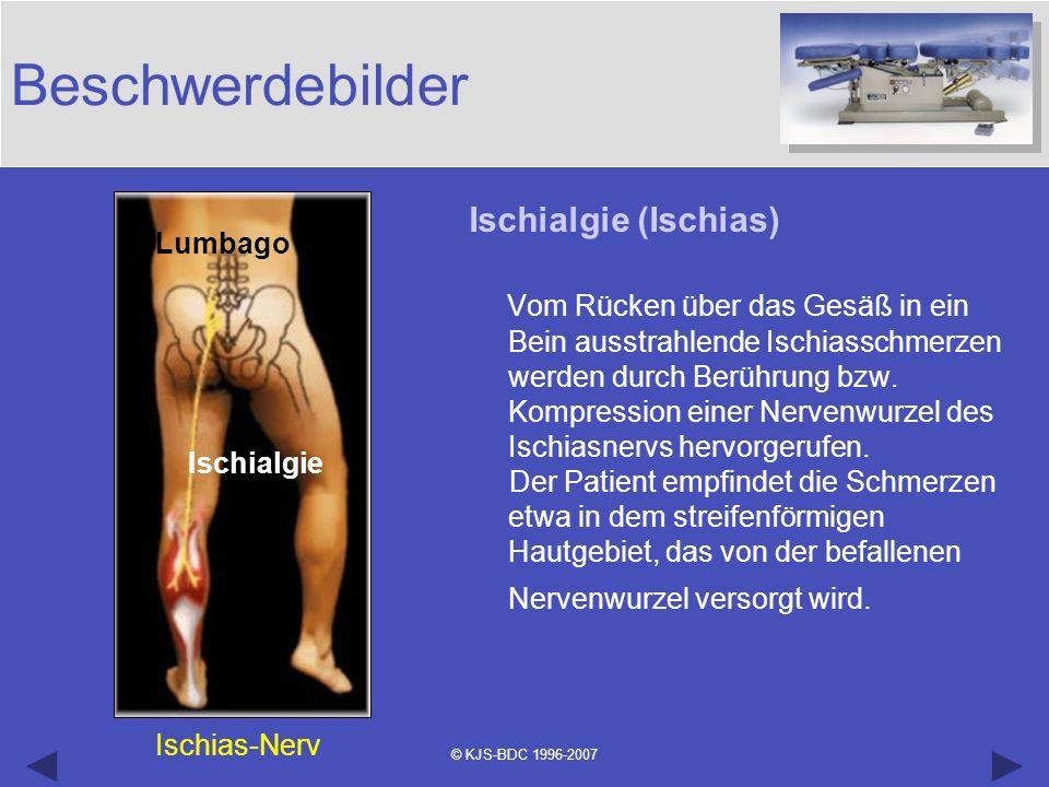 © KJS-BDC 1996-2007 Beschwerdebilder Ischialgie (Ischias) Vom Rücken über das Gesäß in ein Bein ausstrahlende Ischiasschmerzen werden durch Berührung
