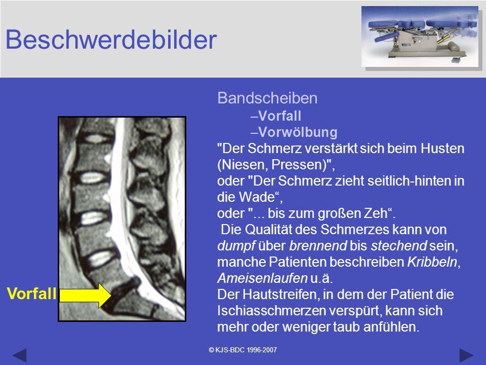 © KJS-BDC 1996-2007 Beschwerdebilder Bandscheiben –Vorfall –Vorwölbung