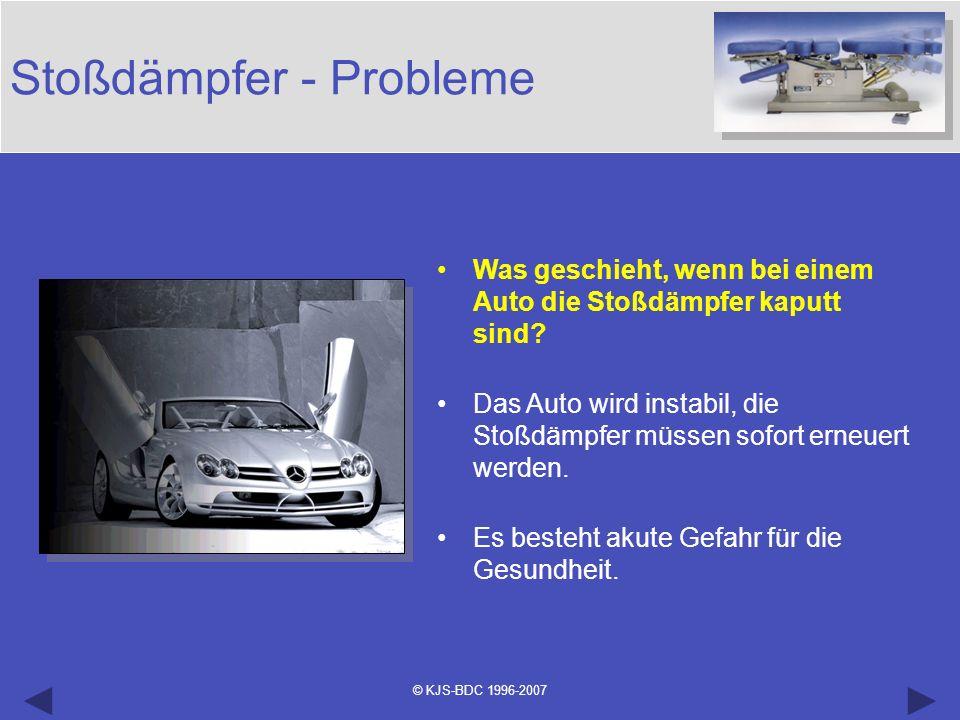 © KJS-BDC 1996-2007 Stoßdämpfer - Probleme Was geschieht, wenn bei einem Auto die Stoßdämpfer kaputt sind? Das Auto wird instabil, die Stoßdämpfer müs