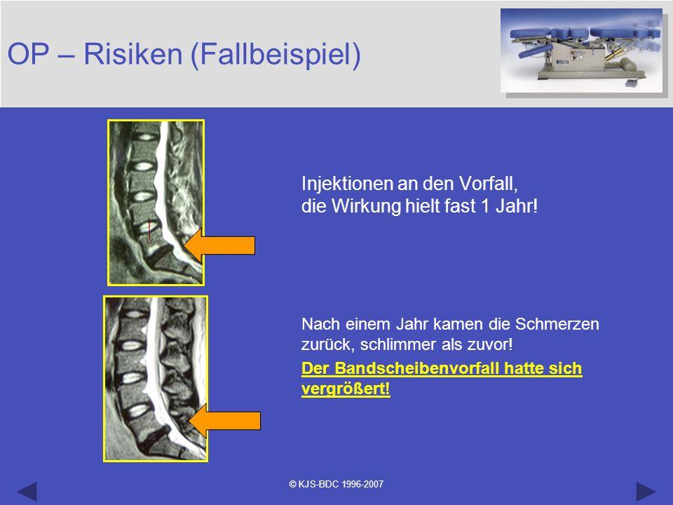 © KJS-BDC 1996-2007 OP – Risiken (Fallbeispiel) Injektionen an den Vorfall, die Wirkung hielt fast 1 Jahr! Nach einem Jahr kamen die Schmerzen zurück,