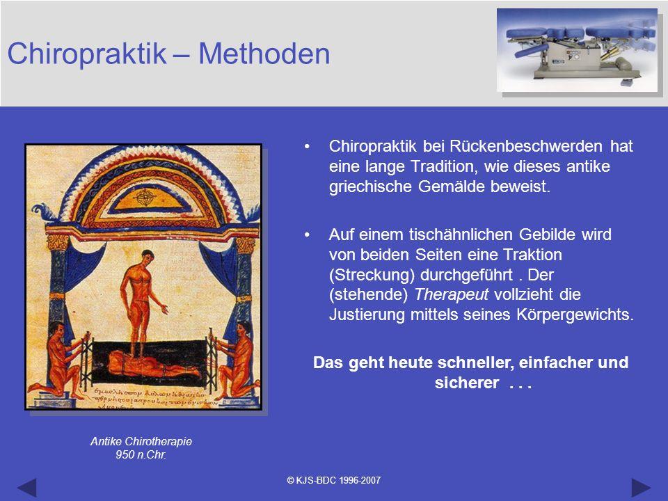 © KJS-BDC 1996-2007 Chiropraktik – Methoden Chiropraktik bei Rückenbeschwerden hat eine lange Tradition, wie dieses antike griechische Gemälde beweist