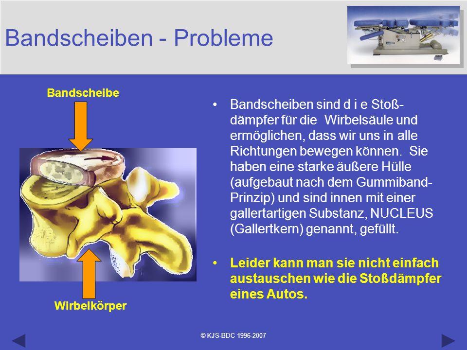 © KJS-BDC 1996-2007 Bandscheiben - Probleme Bandscheibe Wirbelkörper Bandscheiben sind d i e Stoß- dämpfer für die Wirbelsäule und ermöglichen, dass w