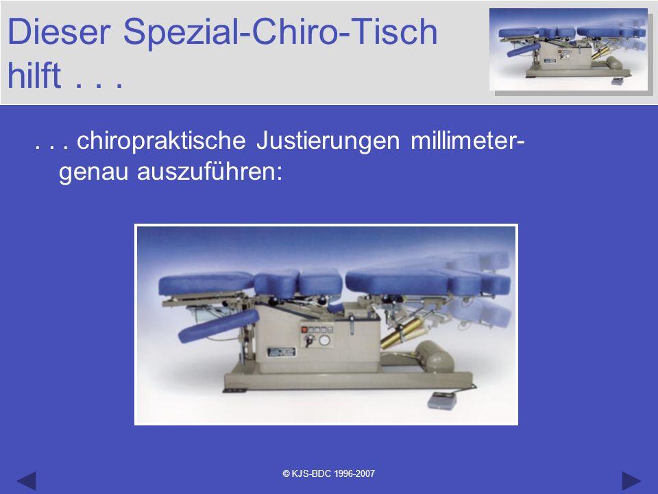 © KJS-BDC 1996-2007 Dieser Spezial-Chiro-Tisch hilft...... chiropraktische Justierungen millimeter- genau auszuführen: