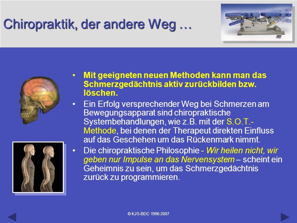 © KJS-BDC 1996-2007 Chiropraktik, der andere Weg … Mit geeigneten neuen Methoden kann man das Schmerzgedächtnis aktiv zurückbilden bzw. löschen. Ein E