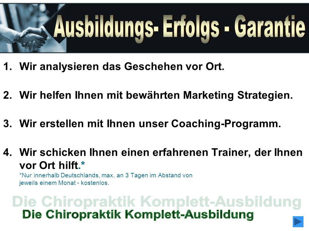 1.Wir analysieren das Geschehen vor Ort. 2.Wir helfen Ihnen mit bewährten Marketing Strategien. 3.Wir erstellen mit Ihnen unser Coaching-Programm. 4.W