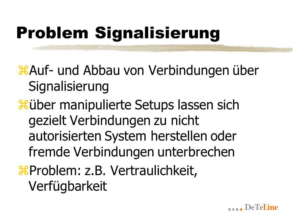 Problem Signalisierung zAuf- und Abbau von Verbindungen über Signalisierung züber manipulierte Setups lassen sich gezielt Verbindungen zu nicht autorisierten System herstellen oder fremde Verbindungen unterbrechen zProblem: z.B.