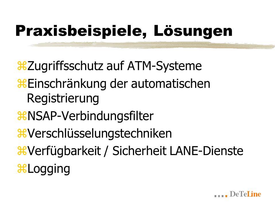 Praxisbeispiele, Lösungen zZugriffsschutz auf ATM-Systeme zEinschränkung der automatischen Registrierung zNSAP-Verbindungsfilter zVerschlüsselungstechniken zVerfügbarkeit / Sicherheit LANE-Dienste zLogging