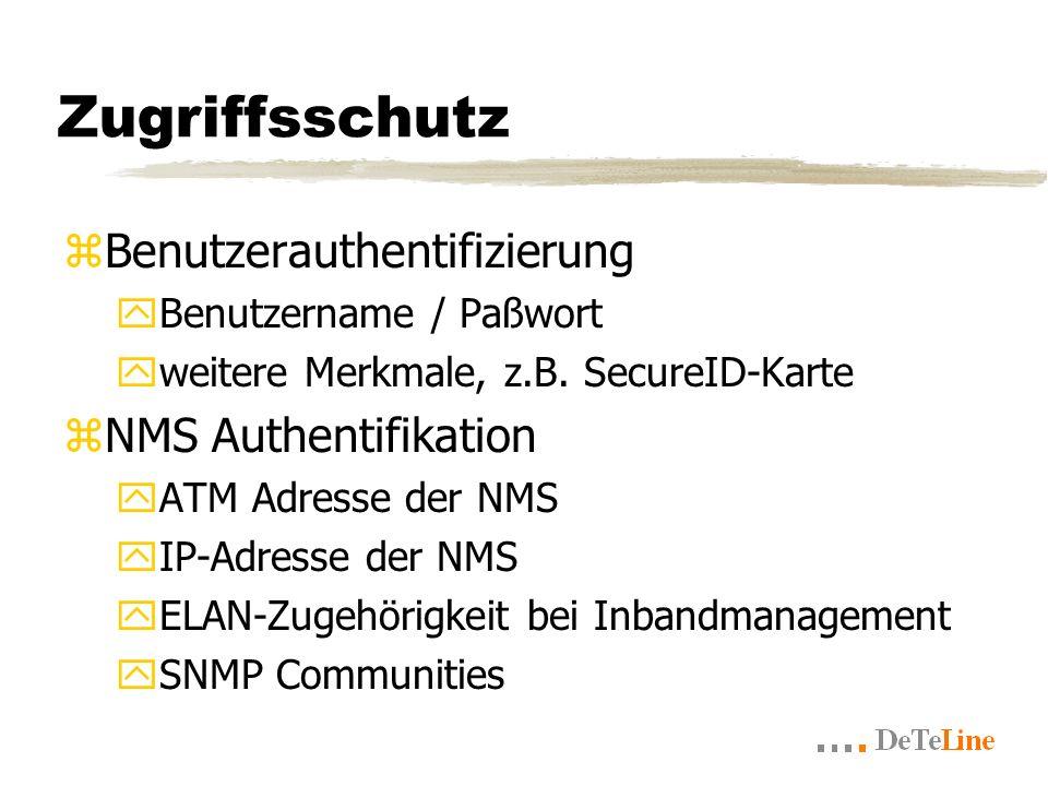 Zugriffsschutz zBenutzerauthentifizierung yBenutzername / Paßwort yweitere Merkmale, z.B.