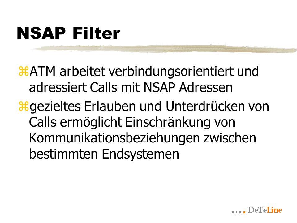 NSAP Filter zATM arbeitet verbindungsorientiert und adressiert Calls mit NSAP Adressen zgezieltes Erlauben und Unterdrücken von Calls ermöglicht Einschränkung von Kommunikationsbeziehungen zwischen bestimmten Endsystemen