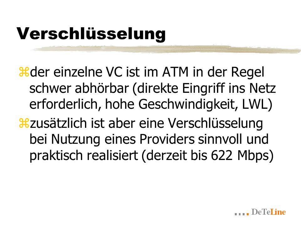 Verschlüsselung zder einzelne VC ist im ATM in der Regel schwer abhörbar (direkte Eingriff ins Netz erforderlich, hohe Geschwindigkeit, LWL) zzusätzlich ist aber eine Verschlüsselung bei Nutzung eines Providers sinnvoll und praktisch realisiert (derzeit bis 622 Mbps)