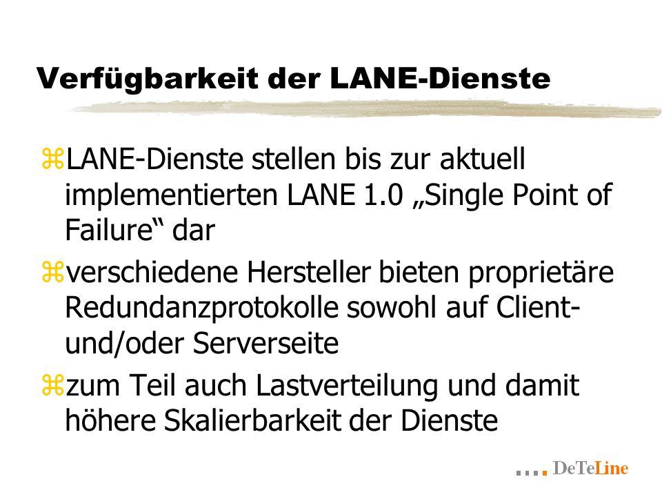 Verfügbarkeit der LANE-Dienste zLANE-Dienste stellen bis zur aktuell implementierten LANE 1.0 Single Point of Failure dar zverschiedene Hersteller bieten proprietäre Redundanzprotokolle sowohl auf Client- und/oder Serverseite zzum Teil auch Lastverteilung und damit höhere Skalierbarkeit der Dienste