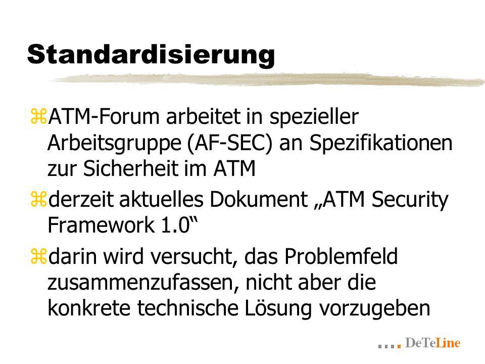 Standardisierung zATM-Forum arbeitet in spezieller Arbeitsgruppe (AF-SEC) an Spezifikationen zur Sicherheit im ATM zderzeit aktuelles Dokument ATM Security Framework 1.0 zdarin wird versucht, das Problemfeld zusammenzufassen, nicht aber die konkrete technische Lösung vorzugeben