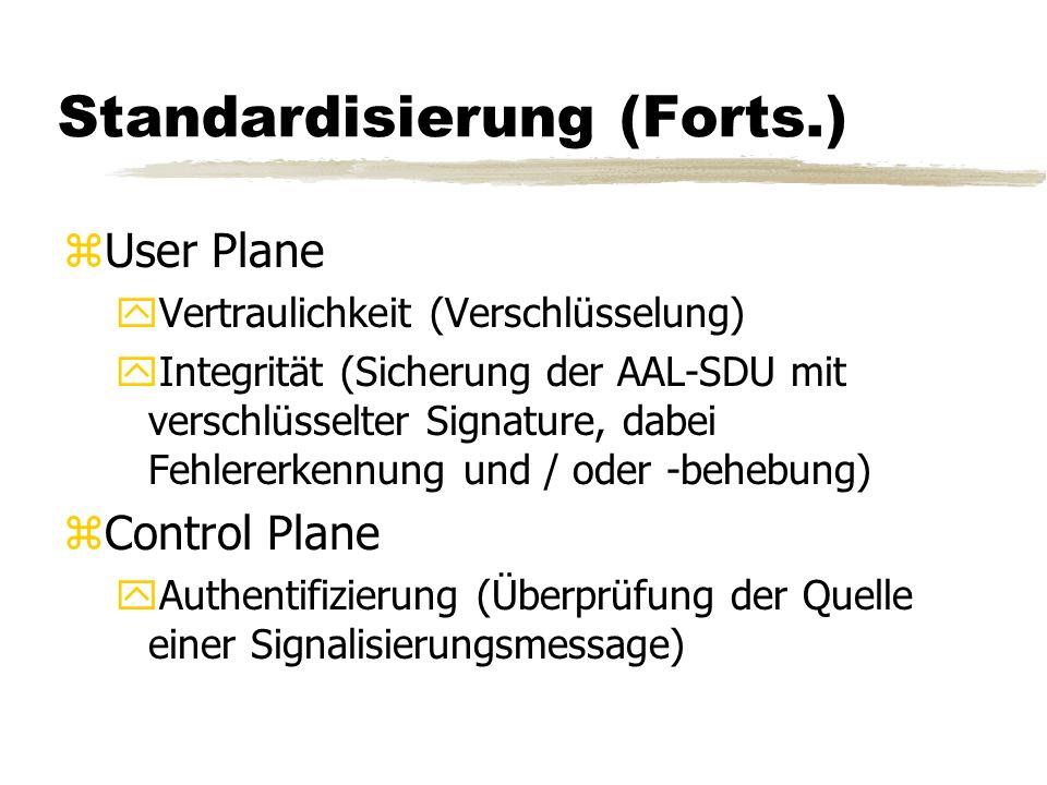 Standardisierung (Forts.) zUser Plane yVertraulichkeit (Verschlüsselung) yIntegrität (Sicherung der AAL-SDU mit verschlüsselter Signature, dabei Fehlererkennung und / oder -behebung) zControl Plane yAuthentifizierung (Überprüfung der Quelle einer Signalisierungsmessage)