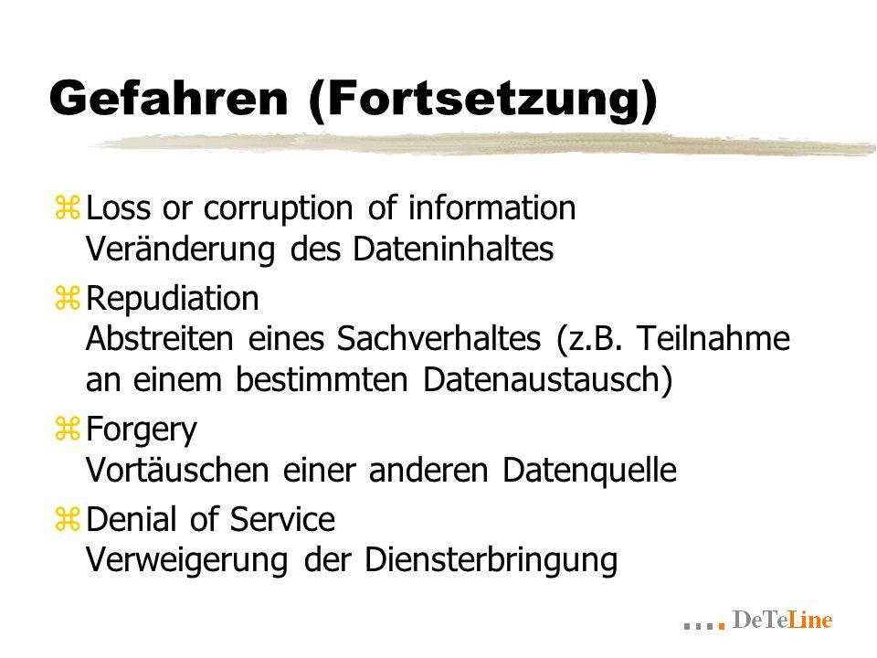 Gefahren (Fortsetzung) zLoss or corruption of information Veränderung des Dateninhaltes zRepudiation Abstreiten eines Sachverhaltes (z.B.