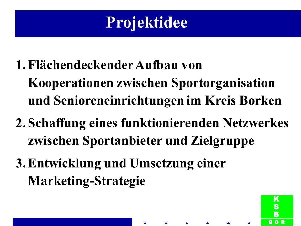 1.Flächendeckender Aufbau von Kooperationen zwischen Sportorganisation und Senioreneinrichtungen im Kreis Borken 2.Schaffung eines funktionierenden Netzwerkes zwischen Sportanbieter und Zielgruppe 3.Entwicklung und Umsetzung einer Marketing-Strategie Projektidee