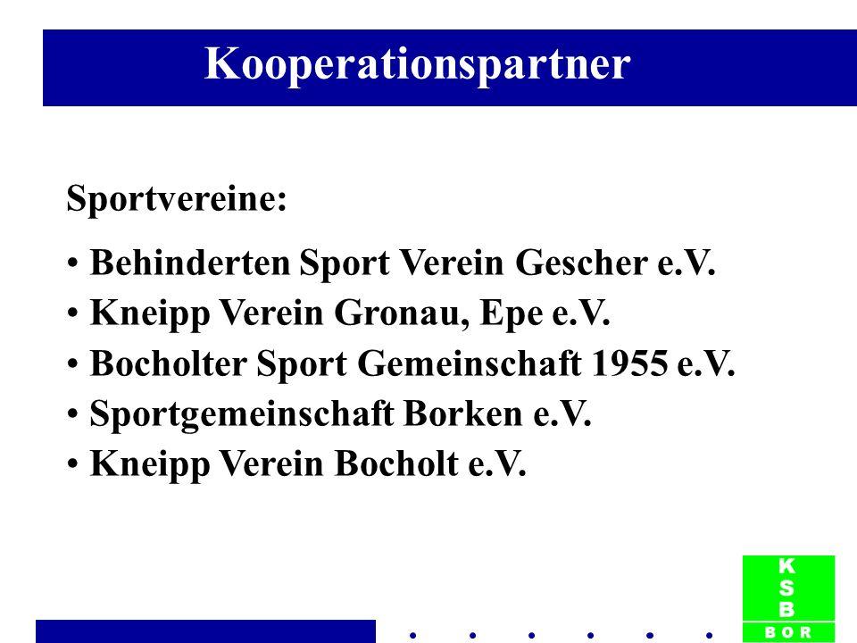 Sportvereine: Behinderten Sport Verein Gescher e.V. Kneipp Verein Gronau, Epe e.V. Bocholter Sport Gemeinschaft 1955 e.V. Sportgemeinschaft Borken e.V