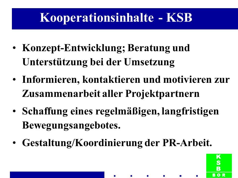 Kooperationsinhalte - KSB Konzept-Entwicklung; Beratung und Unterstützung bei der Umsetzung Informieren, kontaktieren und motivieren zur Zusammenarbeit aller Projektpartnern Schaffung eines regelmäßigen, langfristigen Bewegungsangebotes.