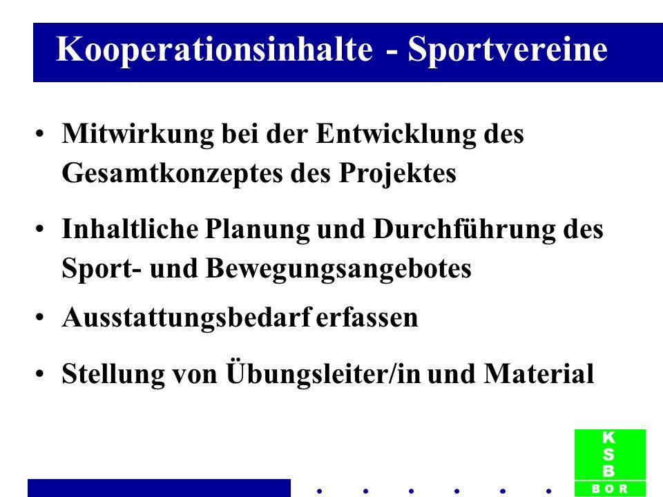 Kooperationsinhalte - Sportvereine Mitwirkung bei der Entwicklung des Gesamtkonzeptes des Projektes Inhaltliche Planung und Durchführung des Sport- und Bewegungsangebotes Ausstattungsbedarf erfassen Stellung von Übungsleiter/in und Material