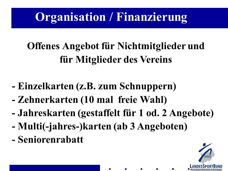 Organisation / Finanzierung Offenes Angebot für Nichtmitglieder und für Mitglieder des Vereins - Einzelkarten (z.B. zum Schnuppern) - Zehnerkarten (10
