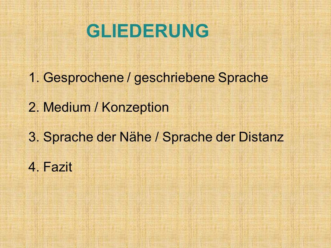GLIEDERUNG 1.Gesprochene / geschriebene Sprache 2.