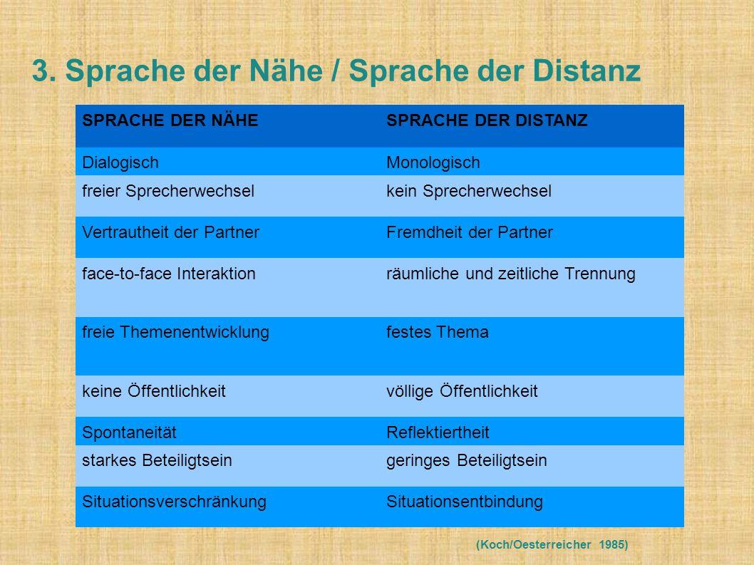 Koch/Oesterreicher sehen im Nähe/Distanzkontinuum ein universelles Grundprinzip sprachlicher Variation.