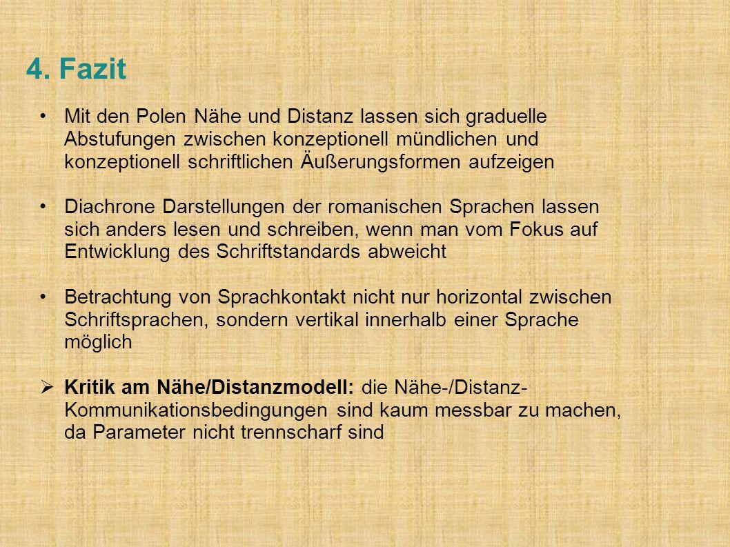 4. Fazit Mit den Polen Nähe und Distanz lassen sich graduelle Abstufungen zwischen konzeptionell mündlichen und konzeptionell schriftlichen Äußerungsf