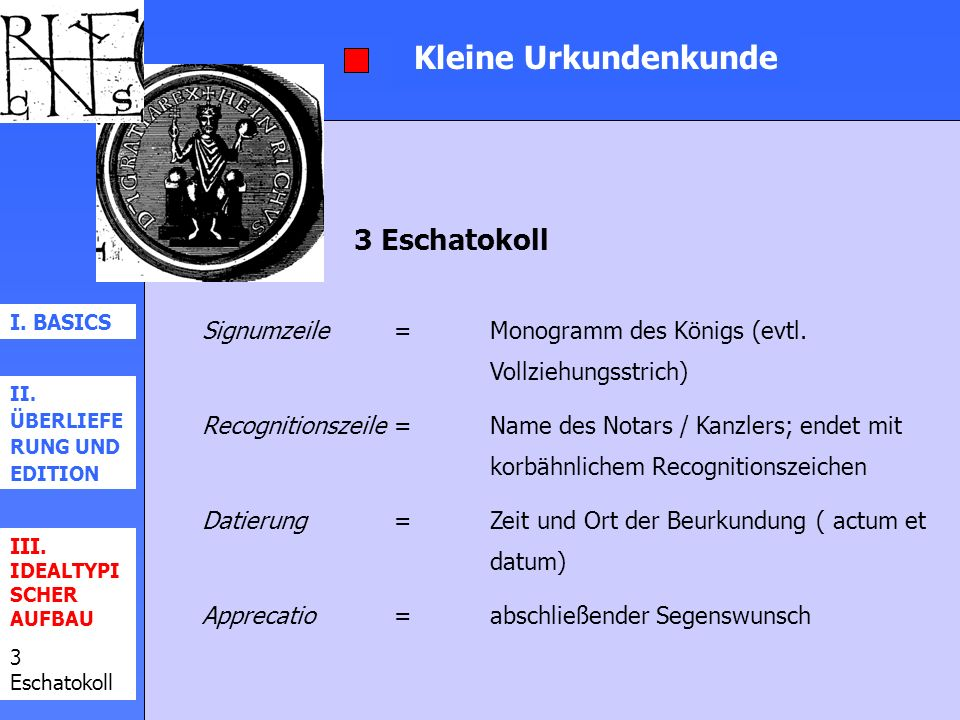 Kleine Urkundenkunde I. BASICS II. ÜBERLIEFE RUNG UND EDITION III. IDEALTYPI SCHER AUFBAU 3 Eschatokoll Signumzeile=Monogramm des Königs (evtl. Vollzi