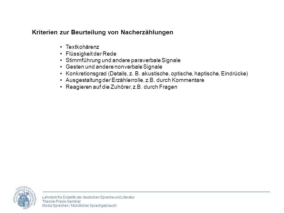 Lehrstuhl für Didaktik der deutschen Sprache und Literatur Theorie-Praxis-Seminar Modul Sprechen / Mündlicher Sprachgebrauch Kriterien zur Beurteilung